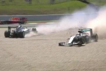Два мерцедеса се удариха във Формула 1! Хамилтън и Росберг аут от състезанието