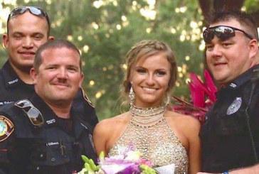 Тя бе избрала зашеметяваща рокля за своя бал, но погледни какво държат в ръцете си полицаите…