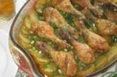 Пилешки бутчета с пресни картофи, копър и чесън