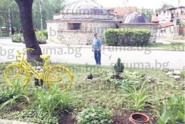 """Съседи си направиха градинка, """"засадиха"""" колело за парижки шик и поляха начинанието на сбирка пред кооперацията"""