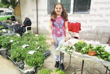 9-г. момиче е най-малката търговка на зеленчуковия пазар в Кюстендил