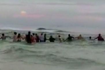 Плажуващи направиха жива верига във водата и успяха да спасят цяло семейство от удавяне /ВИДЕО/