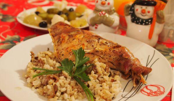 Пълнен заек с ориз и гъби