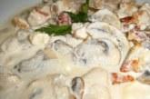 Пилешко с топено сирене и гъби