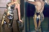 Гери-Никол напъха яката дупара в метална рокля