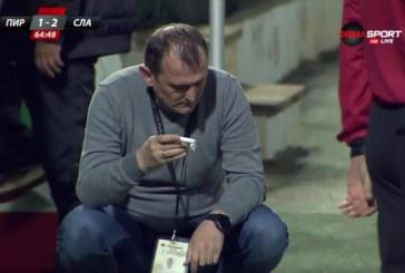 """ОФК """"Пирин"""" пледира невинен за удара с бутилка по треньора на """"Славия"""", предлага го за """"Аскеер"""""""