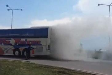 """ОГНЕН АД! Автобус се запали на АМ """"Хемус"""""""