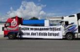 """Над 100 камиона от Пиринско протестират на Кулата срещу мерките """"Макрон"""", колоната е километрична"""