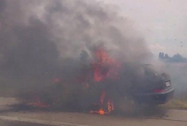 Ситроен горя на Е-79 край Сандански