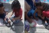Дете свали обувките си, даде ги на бездомник