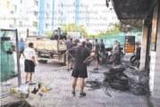 Близки и приятели на фамилия Буковски запретнаха ръкави, започнаха разчистването на запаления сервиз в Сандански