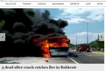 Автобус избухна в пламъци на магистралата, петима загинаха