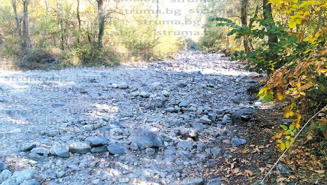 Коритото на река Благоевградска Бистрица пресъхна и се вкамени заради липса на дъждове