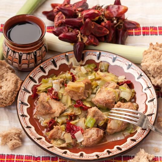 Кебап със свинско месо и праз