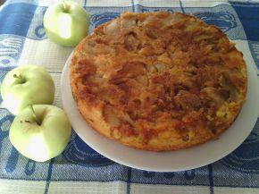 Обърнат сладкиш с ябълки, алкохол и канела
