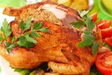 Пълнено пиле с гъби и ориз