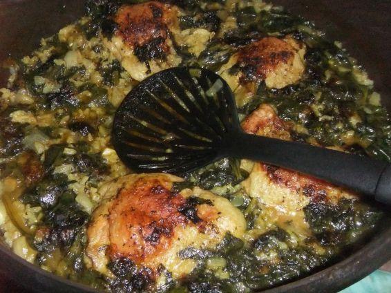 Пилешко със спанак и ориз