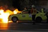 """ОГНЕН ИНЦИДЕНТ! Такси в пламъци в района на """"Антените"""" край Благоевград"""